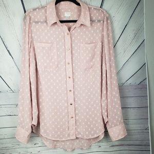A NEW DAY | pink polka dot button down shirt XL